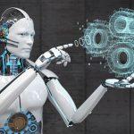 The,Robot,Designs,A,Machine,With,Digital,Gear,Wheels.,3d